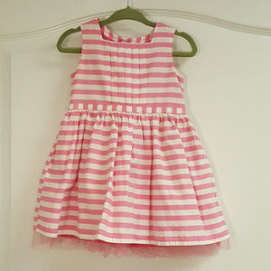 Carter's Pink Striped Pleat Front Tulle Dress